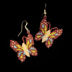Maroon Beaded Butterfly Earrings