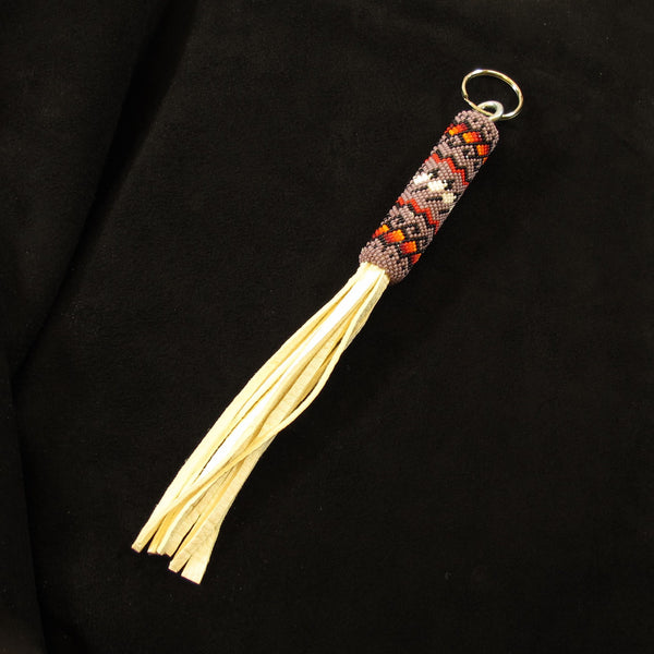 Plum Color Beaded Keychain