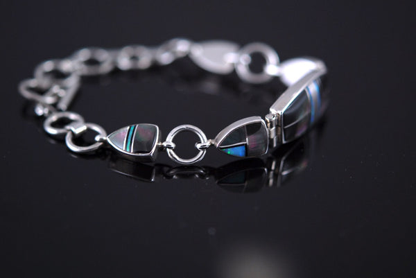 Black Tahitian Inlay Link Bracelet