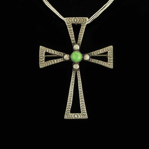 Gaspeite Cross Pin Pendant