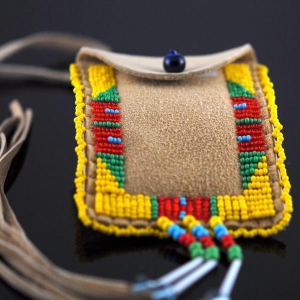 Yellow Beaded Pouch