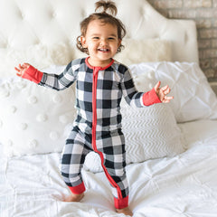 Little Sleepies - Black/White Plaid bamboo viscose convertible romper/sleepe