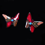 Red and Copper Butterfly Antler Earrings