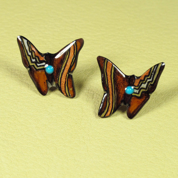 Butterfly Antler Earrings - Brown & Copper