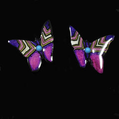 Purple Butterfly Antler Earrings