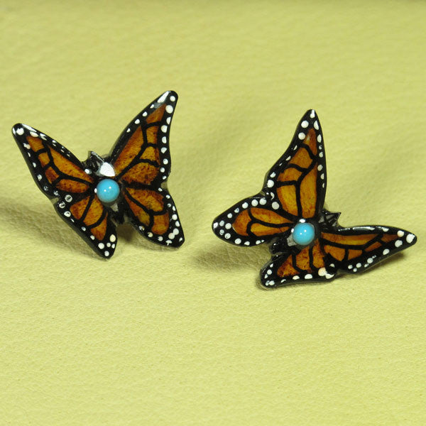Monarch Butterfly Antler Earrings - Brown - Hand Painted