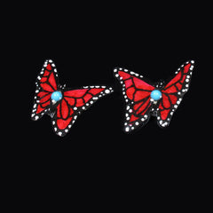 Red Monarch Butterfly Antler Earrings