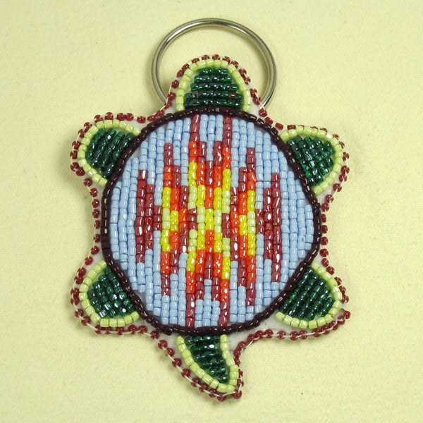 Beaded Turtle Key Chain - Baby Blue