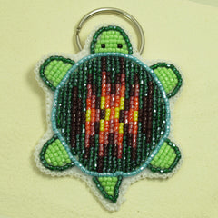 Beaded Turtle Key Chain - Green