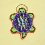Beaded Turtle Key Chain - Purple
