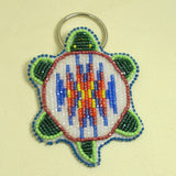Beaded Turtle Key Chain - White