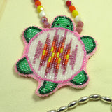 Beaded Turtle Necklace- Pink