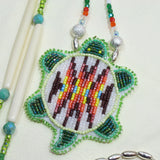 Beaded Turtle Necklace White and Brown
