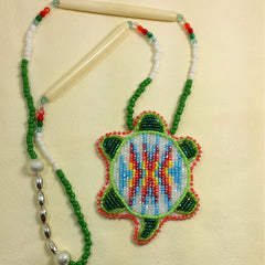 Beaded Turtle Necklace Orange