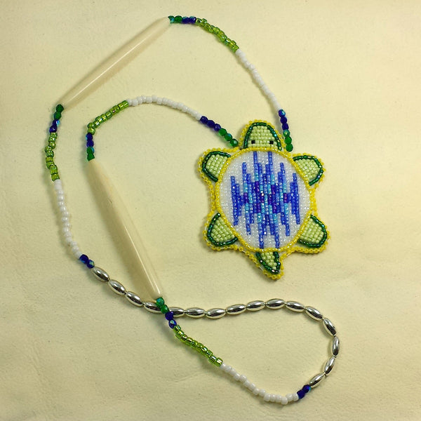 Beaded Turtle Necklace Yellow