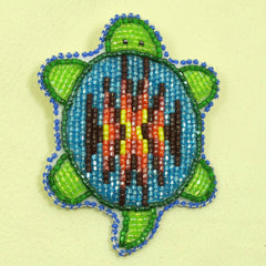 Beaded Turtle Pin - Deep Blue