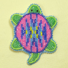 Beaded Turtle Pin - Pink