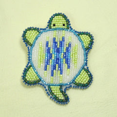 Beaded Turtle Pin - White/Green/Blue