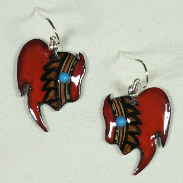 Red Buffalo Antler Earrings