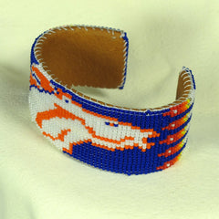 Broncos Beaded Bracelet Blue Native American
