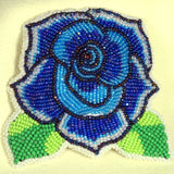 Beaded Rose Pin Blue with leaves