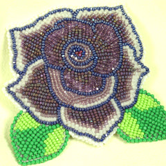 Beaded Rose Pin Dusty Purple with leaves
