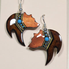 Black Bear Antler Copper Brown Earring