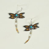 Dragonfly Antler Earrings - Golden Brown