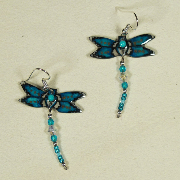Turquoise Blue & White Dragonfly Antler Earrings