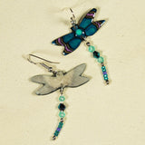 Deep Blue Dragonfly Antler Earrings