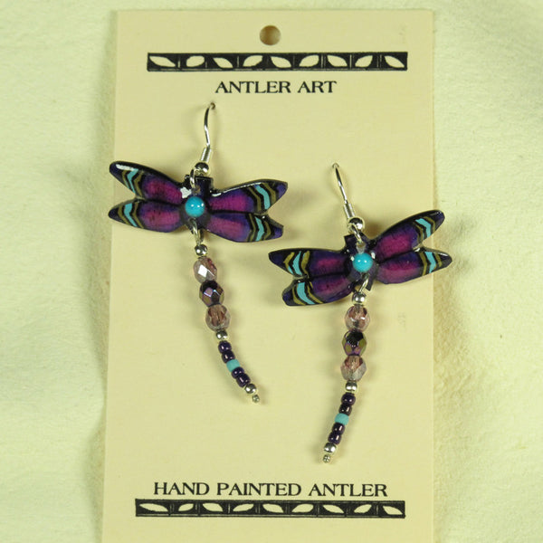 Purple Dragonfly Antler Earrings