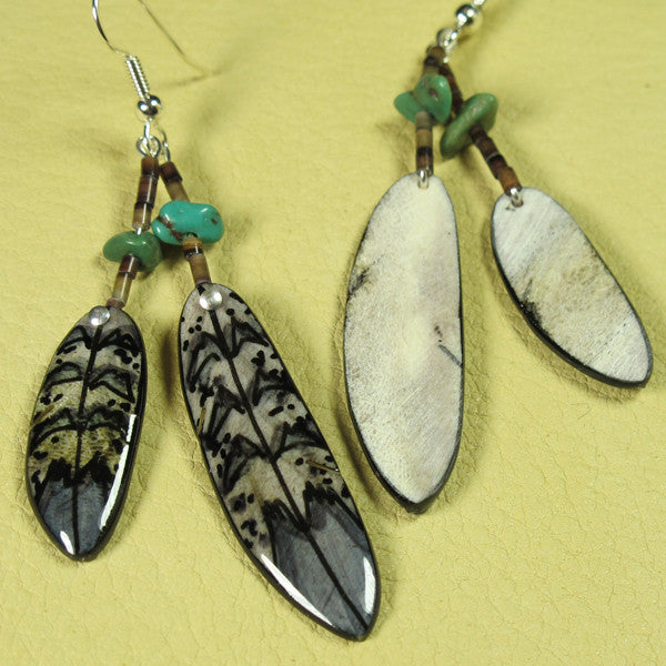 Double Falcon Feather Antler Earrings - Grey