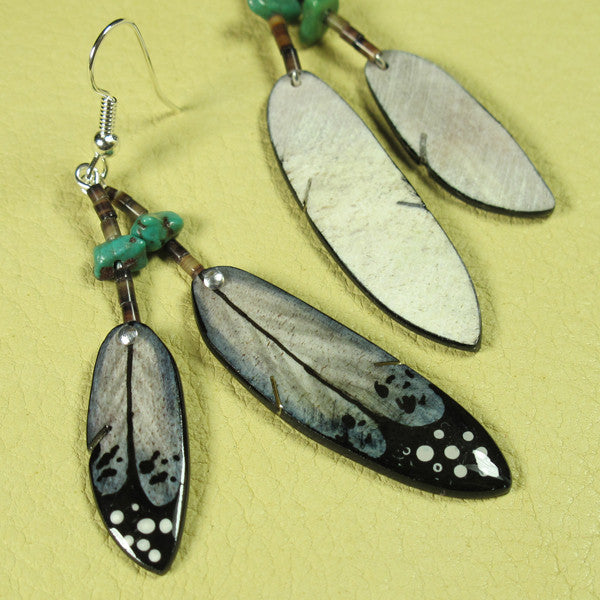Black Double Falcon Feather Antler Earrings