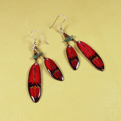 Red Double Falcon Feather Antler Earrings