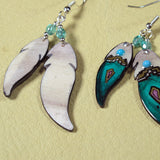 Teal Double Soaring Feather Antler Earrings