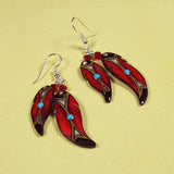 Red Double Soaring Feather Antler Earrings