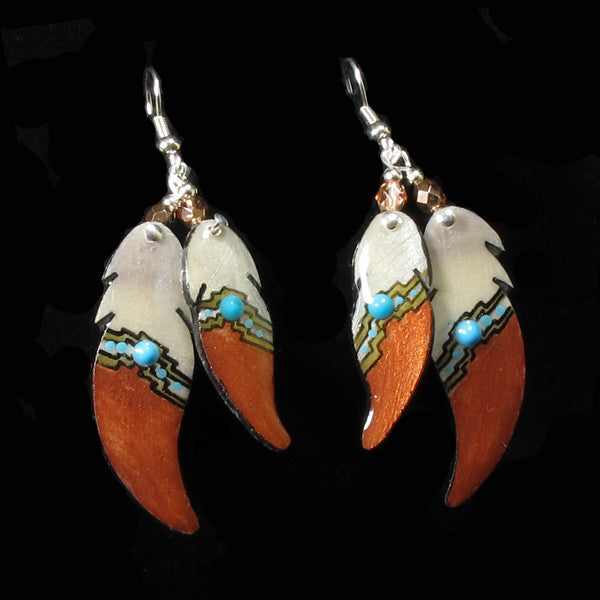 Double Soaring Feather Bronze Antler Earrings