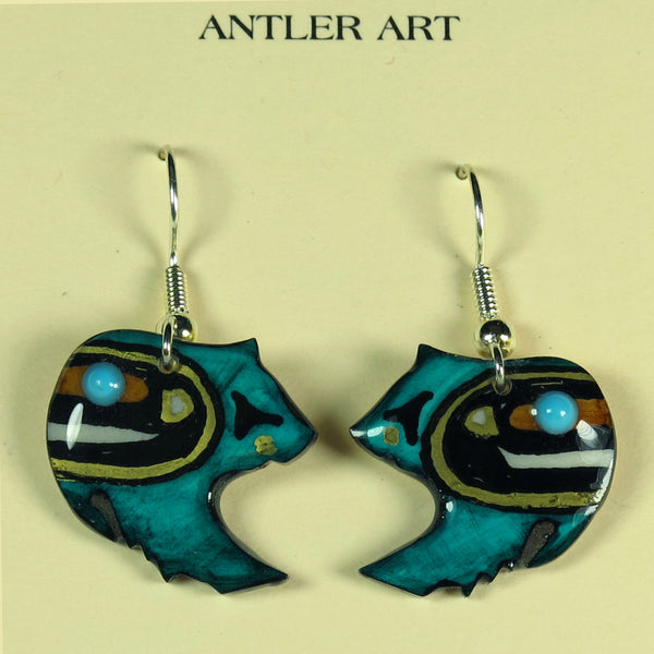 Teal-Blue Grizzley Bear Antler Earrings