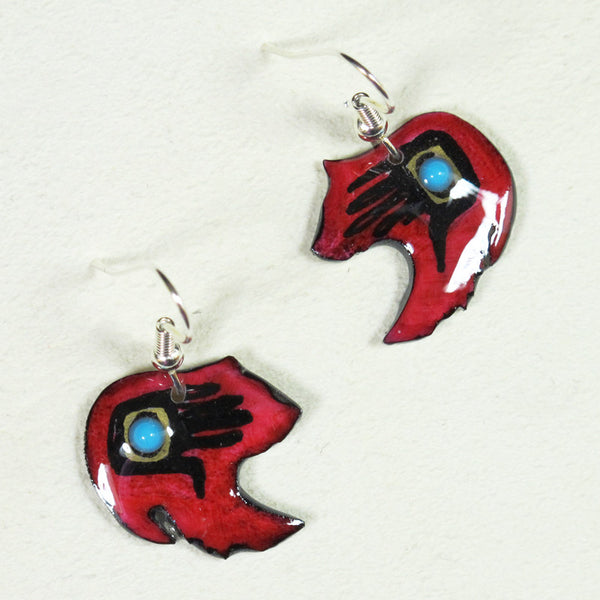 Grizzley Bear Antler Earrings - Red