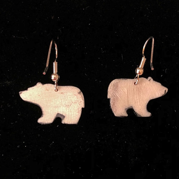 Red Walking Bear Antler Earrings