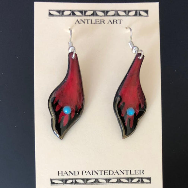 Red Leaf Antler Earrings
