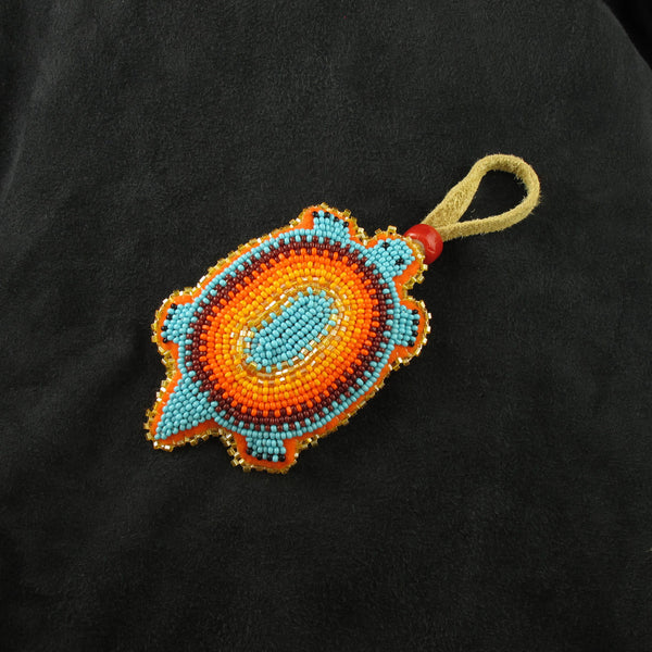 Blue Turtle Beaded Amulet