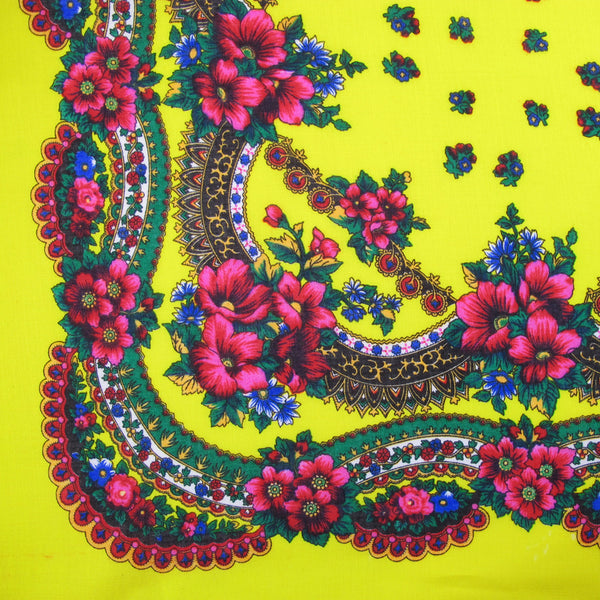 "Floral Scarf Yellow 30""x30"""