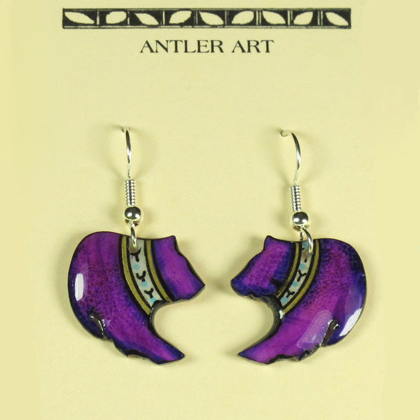 Purple Grizzley Bear Antler Earrings