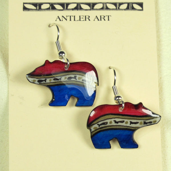 Red, White & Blue Bear Antler Earrings