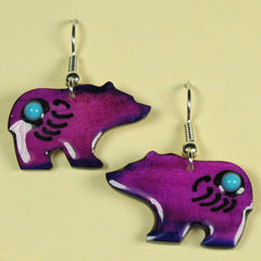Purple Walking Bear Antler Earrings