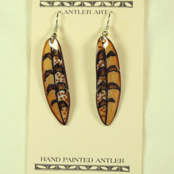 Falcon Feather Earring - Brown - Hand Painted
