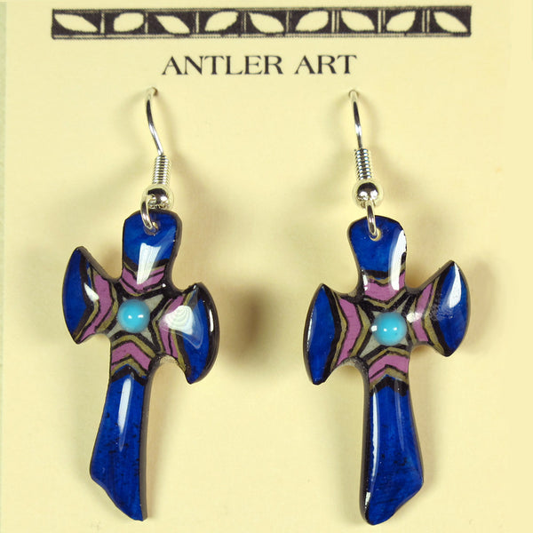 Royal Blue Antler Cross Earrings