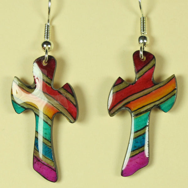 Rainbow Cross Earrings - Hand Painted Antler
