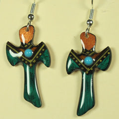 Teal Antler Cross Earrings